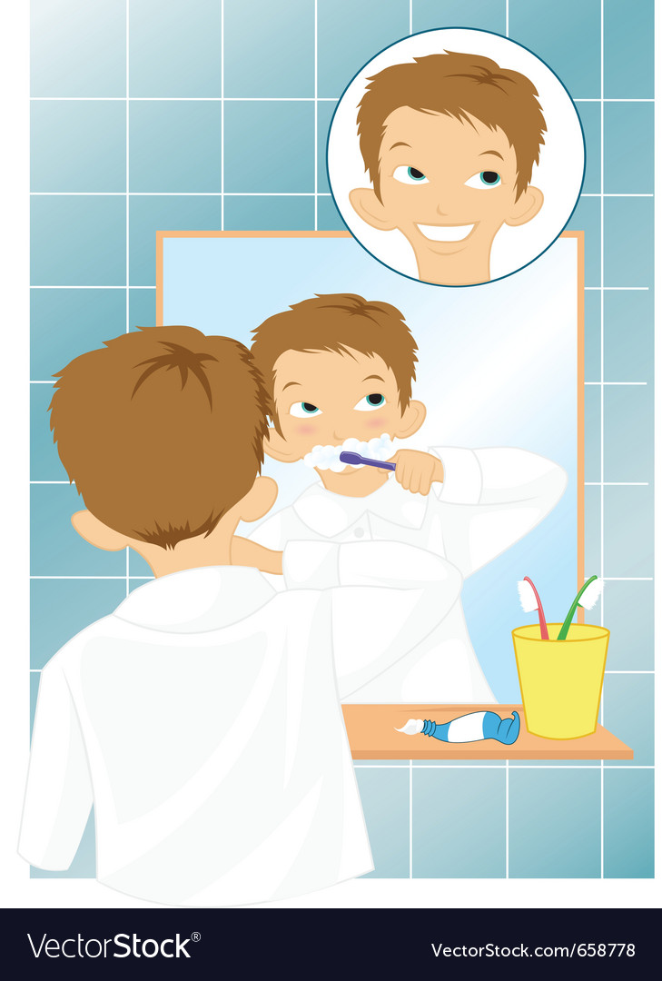 Boy brushing teeth vector | Price: 3 Credit (USD $3)
