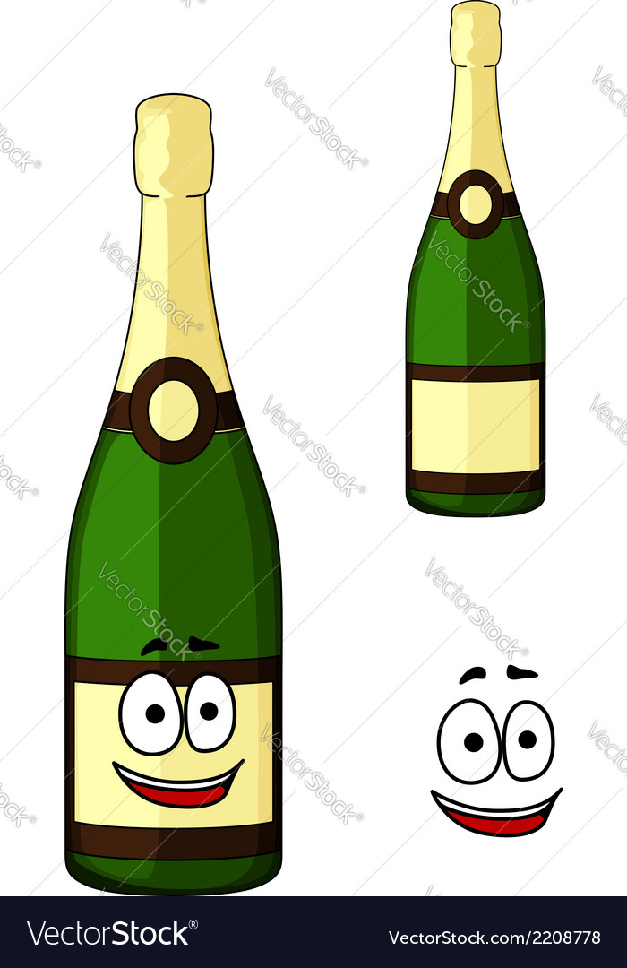 Happy green bottle of luxury champagne vector | Price: 1 Credit (USD $1)