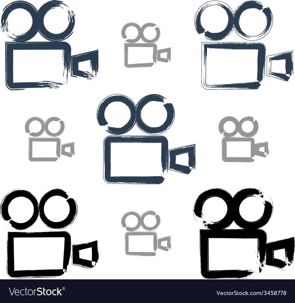 Set of realistic ink hand-drawn video camera icons vector | Price: 1 Credit (USD $1)