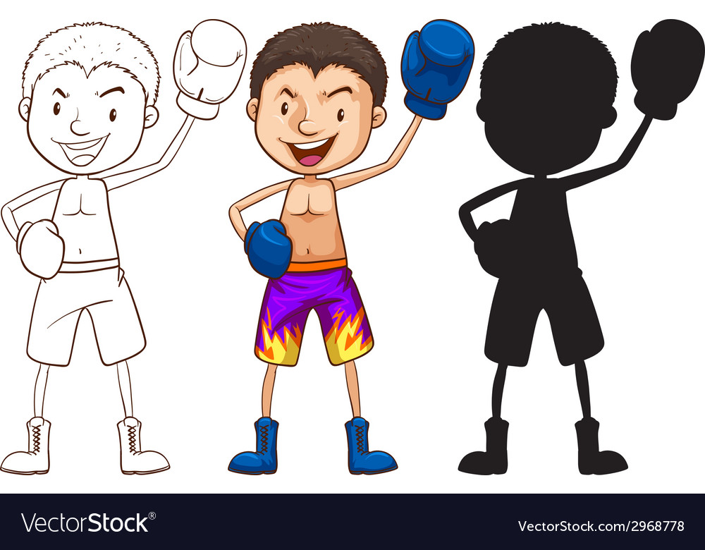 Sketches of a boxer in different colors vector | Price: 1 Credit (USD $1)