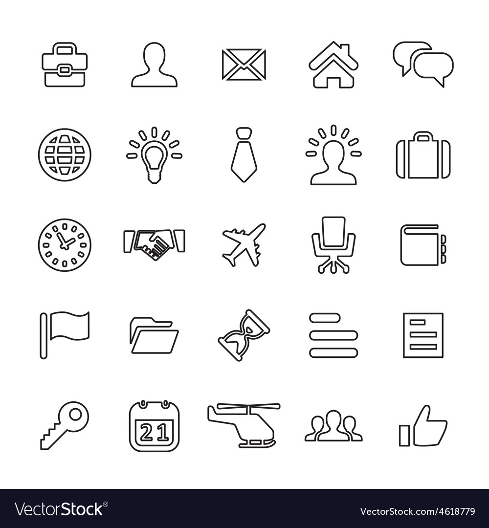 25 outline universal business icons vector | Price: 1 Credit (USD $1)