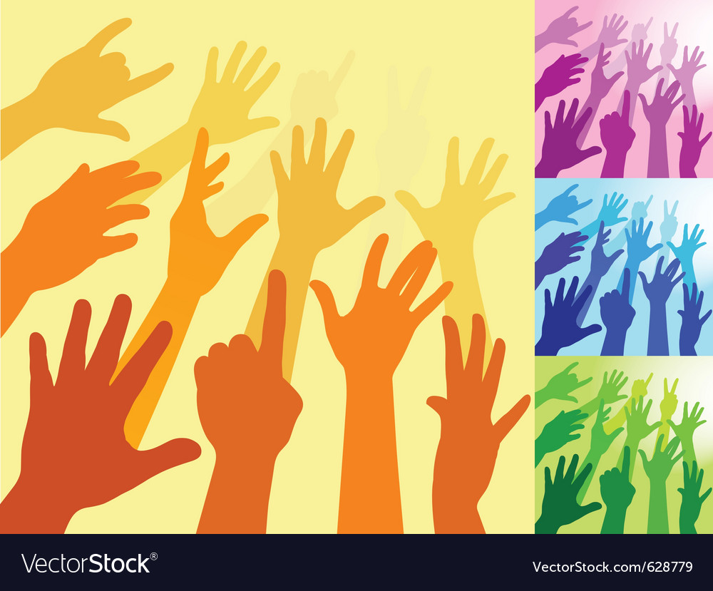 A collection of hands and raised arms shapes vector | Price: 1 Credit (USD $1)