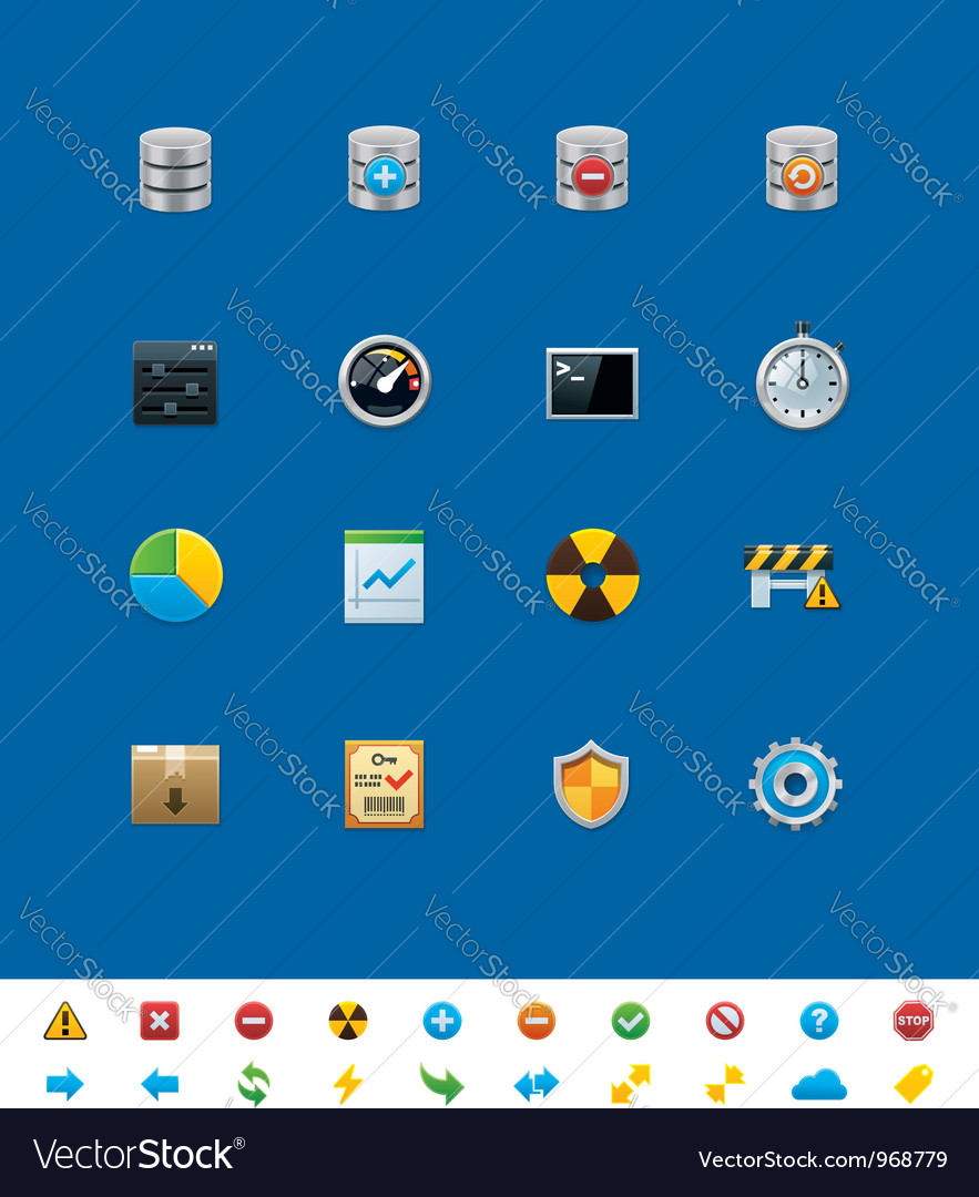 Database icons vector | Price: 3 Credit (USD $3)