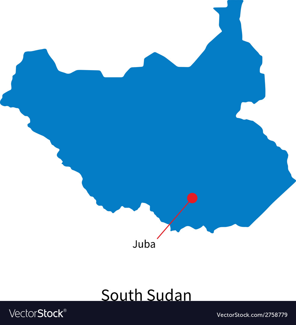 Detailed map of south sudan and capital city juba vector | Price: 1 Credit (USD $1)