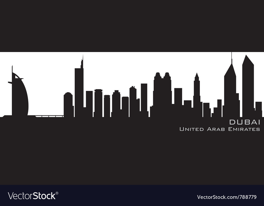 Dubai emirates skyline detailed silhouette vector | Price: 1 Credit (USD $1)