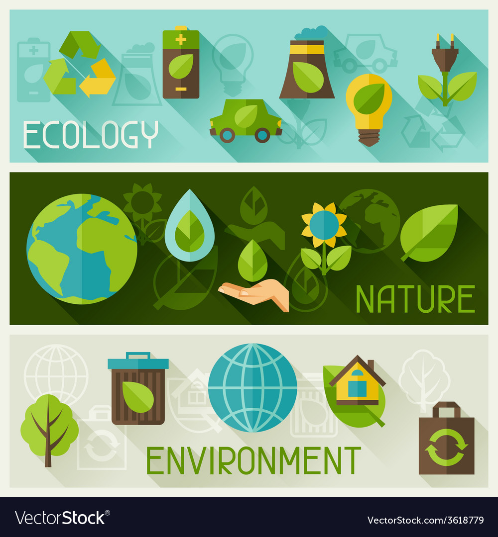 Ecology banners with environment icons vector | Price: 1 Credit (USD $1)