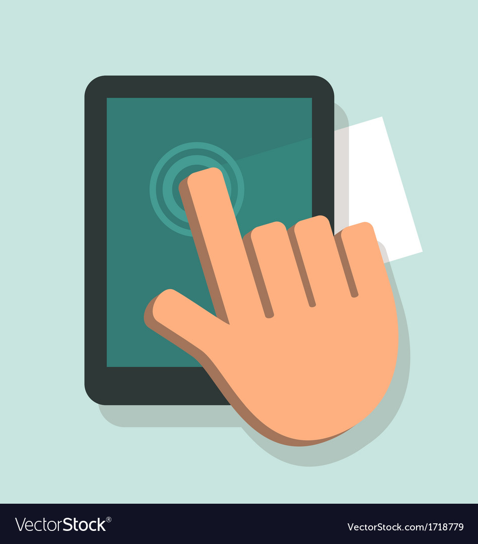 Hand touching a digital tablet vector | Price: 1 Credit (USD $1)