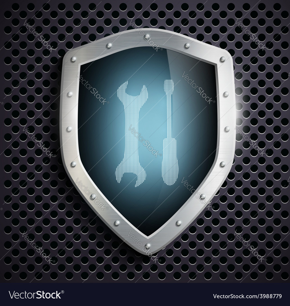 Metal shield with the image of the tool vector | Price: 1 Credit (USD $1)