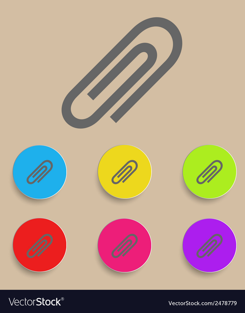 Paper clip icons with color variations vector | Price: 1 Credit (USD $1)