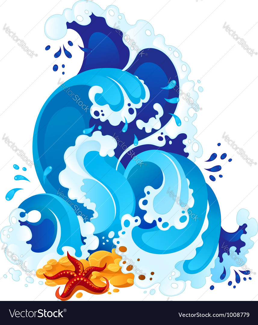 Sea surf in decorative style vector | Price: 1 Credit (USD $1)