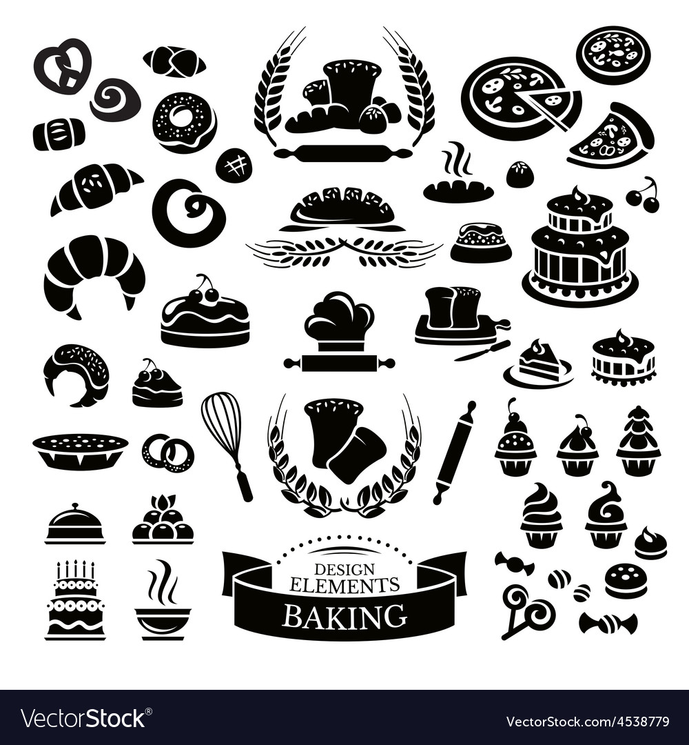 Set of bakery design elements and icons vector | Price: 1 Credit (USD $1)