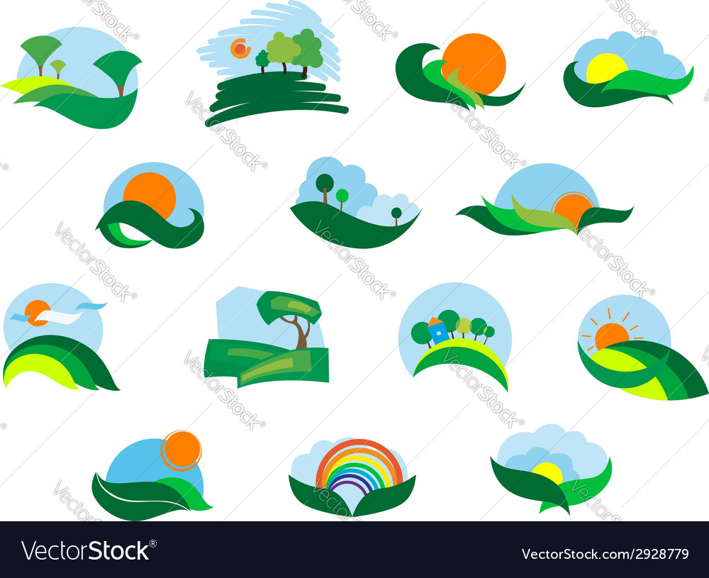 Summer and autumn agricultural landscape icons vector | Price: 1 Credit (USD $1)