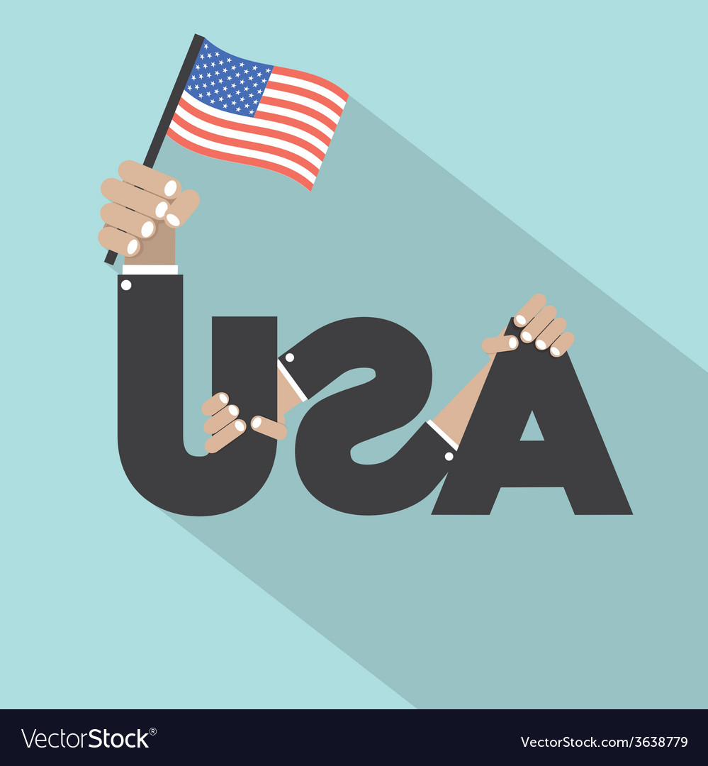 Usa typography with hands and flags symbol design vector | Price: 1 Credit (USD $1)