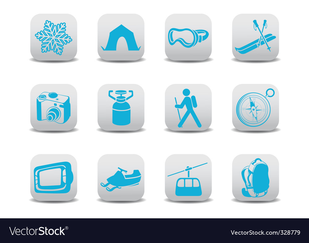 Winter camping ski icons vector | Price: 1 Credit (USD $1)