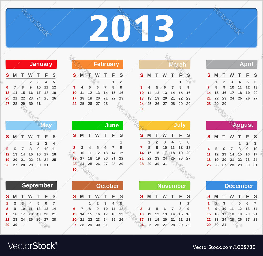 2013 calendar vector | Price: 3 Credit (USD $3)
