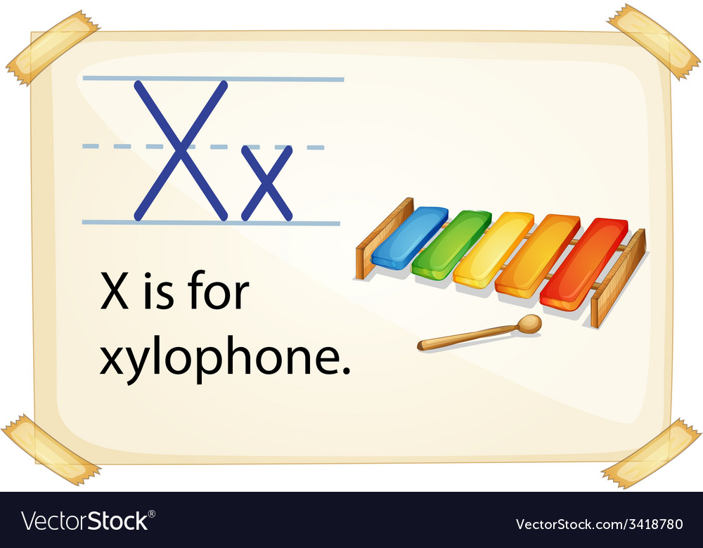 A letter x for xylophone vector | Price: 1 Credit (USD $1)
