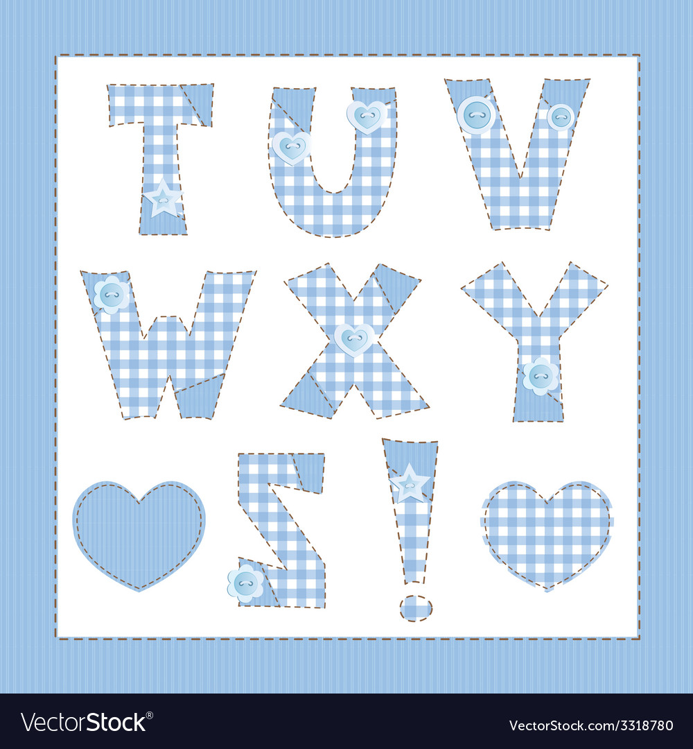 Blue fabric alphabet letters t u v w x y z vector | Price: 1 Credit (USD $1)