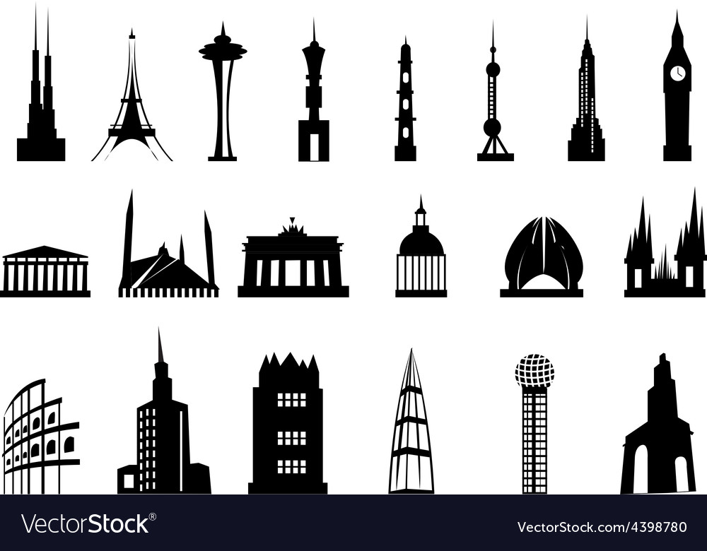 Buildings icons set vector | Price: 3 Credit (USD $3)