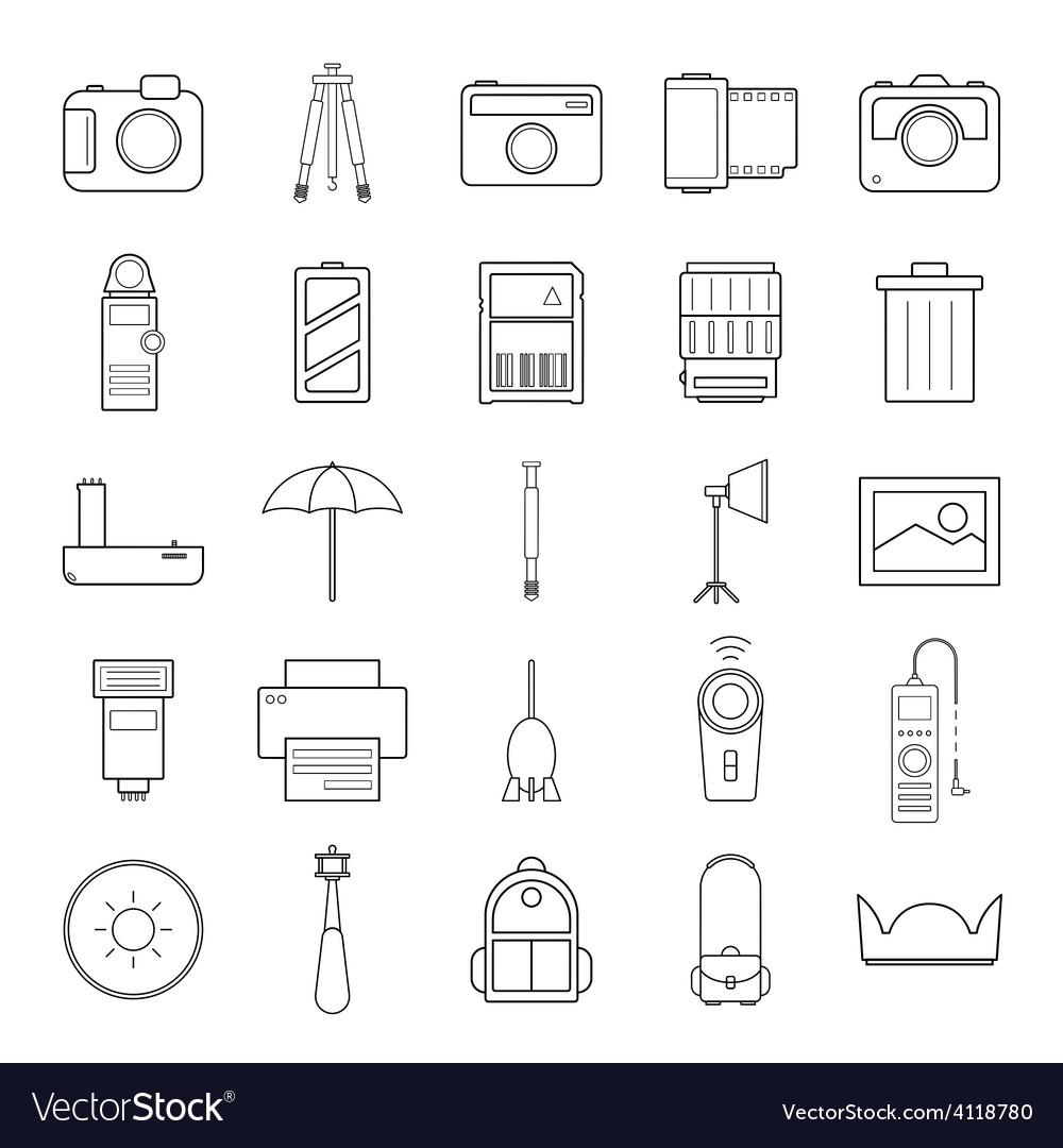 Camera and accessories icons set vector | Price: 1 Credit (USD $1)