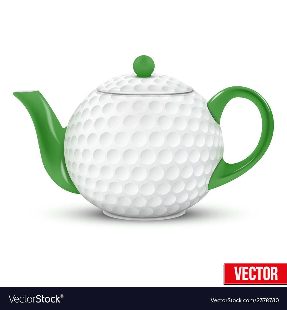 Ceramic teapot in golf ball style football vector | Price: 1 Credit (USD $1)
