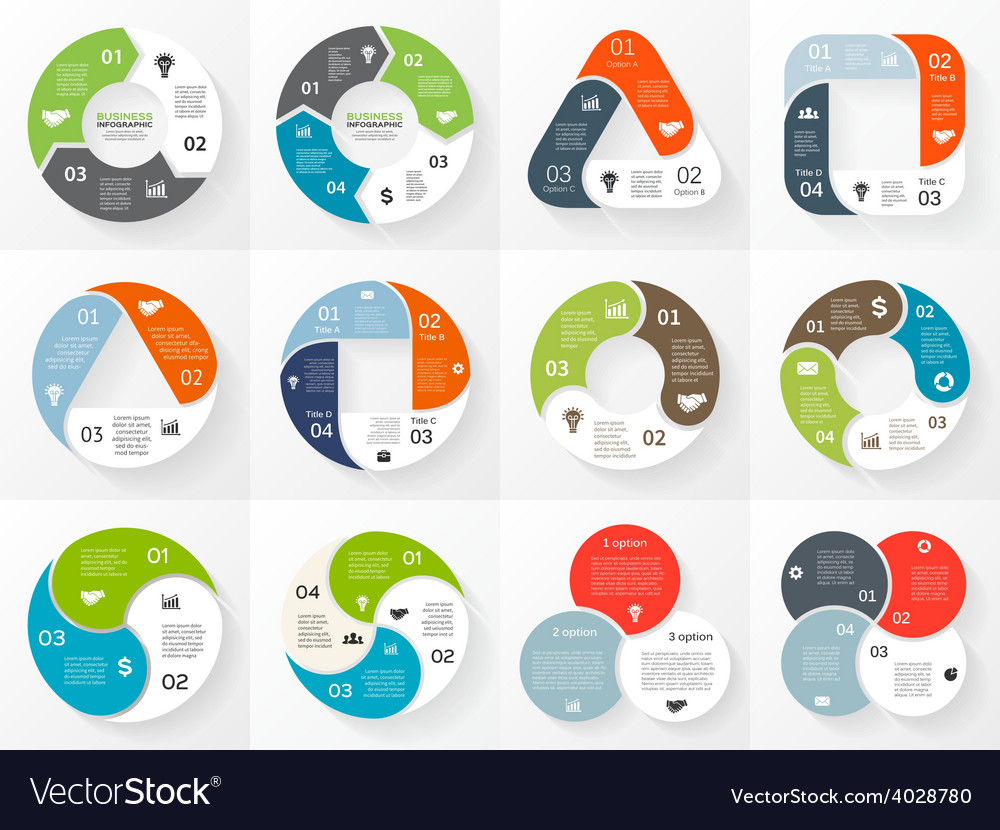 Circle triangle square infographics set vector