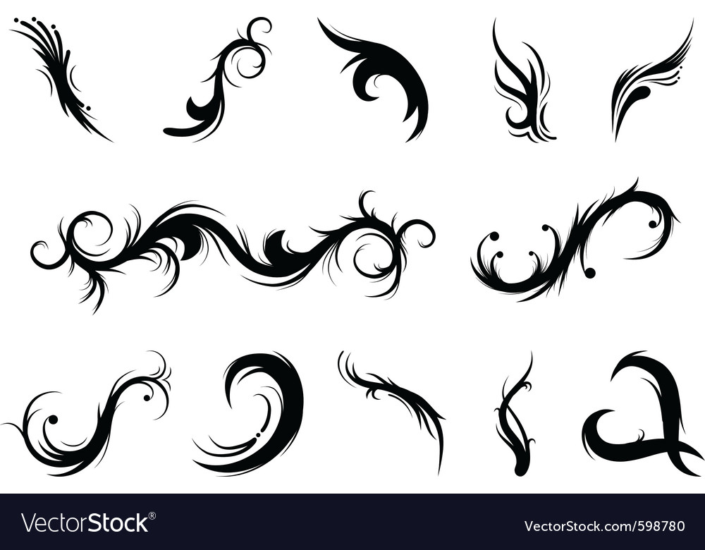 Curly elements vector | Price: 1 Credit (USD $1)