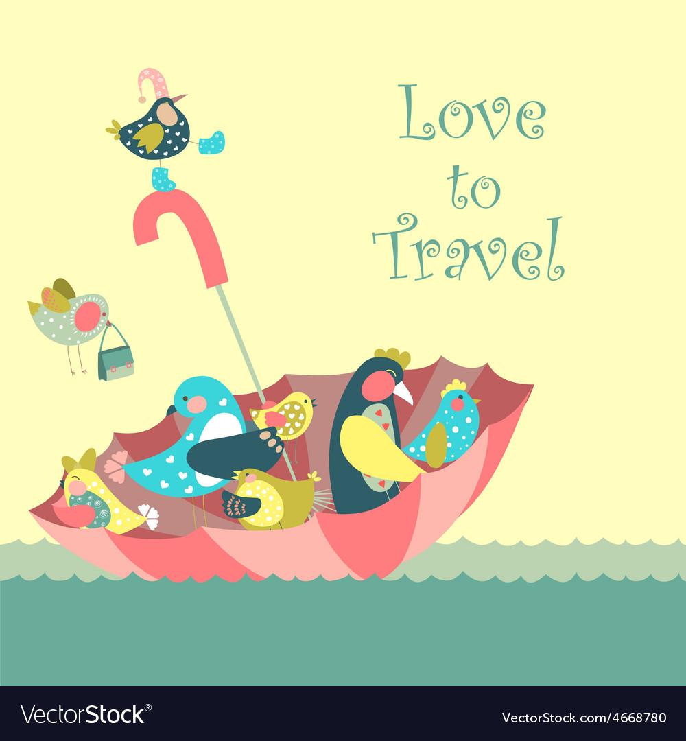 Cute birds floating on umbrella in the sea vector | Price: 1 Credit (USD $1)