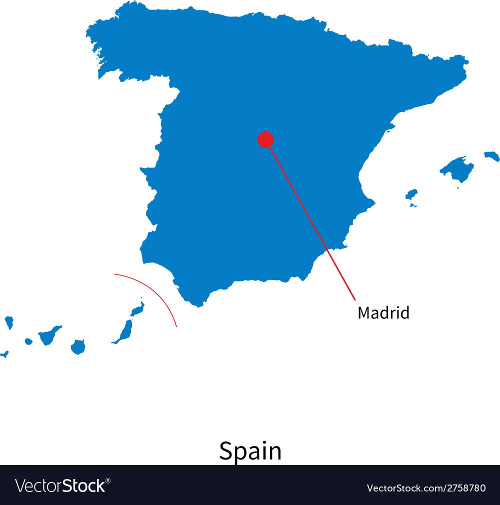 Detailed map of spain and capital city madrid vector | Price: 1 Credit (USD $1)