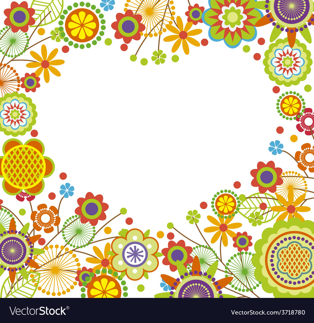 Floral frame in heart shape vector | Price: 1 Credit (USD $1)
