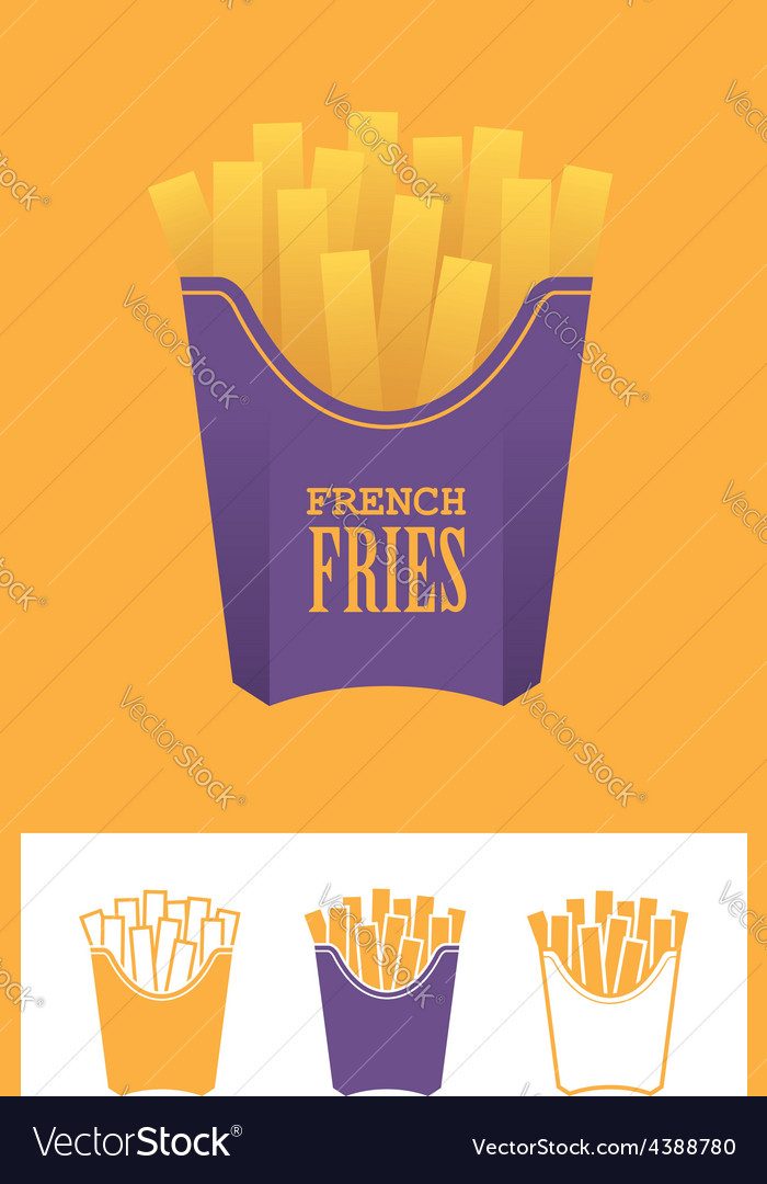 Four french fries icons vector | Price: 1 Credit (USD $1)