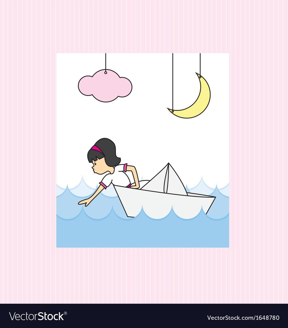 Girl in a paper boat vector   Price: 1 Credit (USD $1)