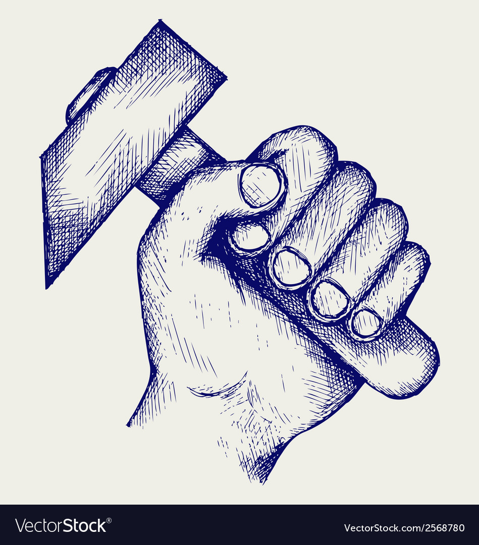 Hand holding hammer vector | Price: 1 Credit (USD $1)