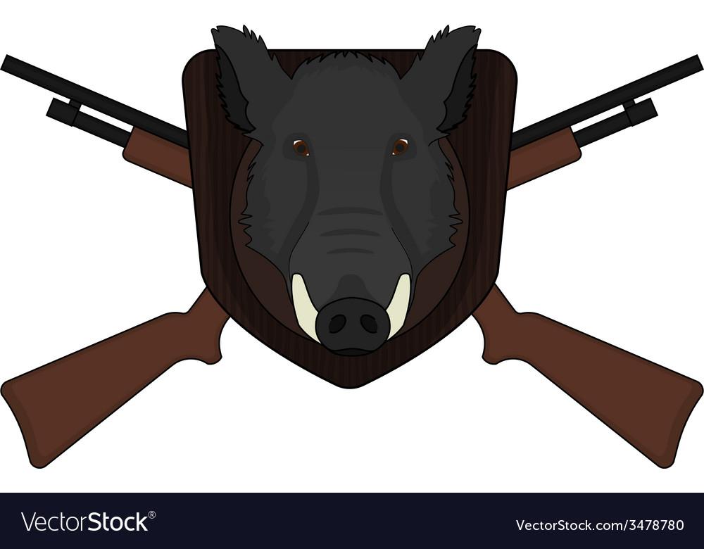 Hunting trophy stuffed wild boar head vector | Price: 1 Credit (USD $1)