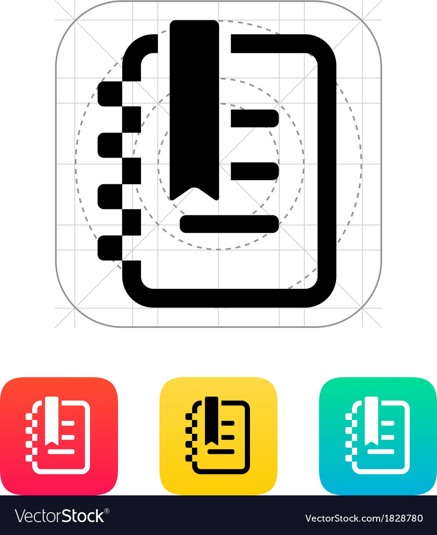 Notepad with label icon vector | Price: 1 Credit (USD $1)