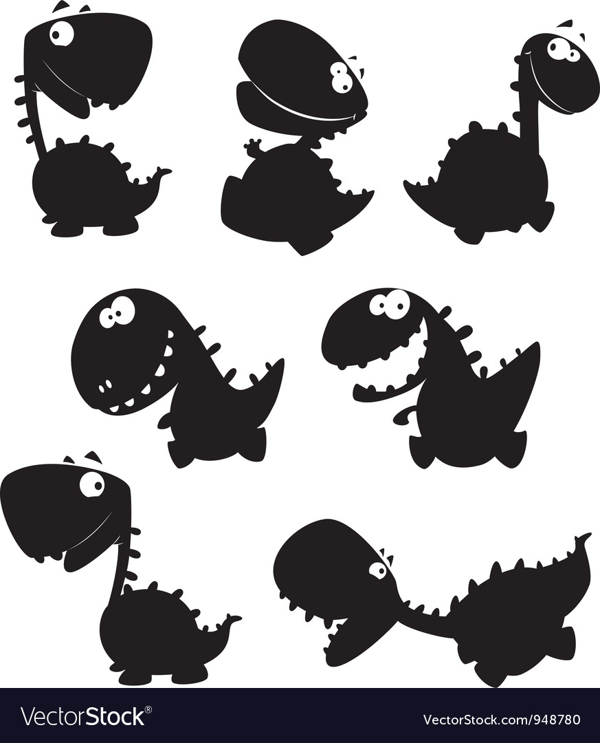 Set dino cartoon black vector
