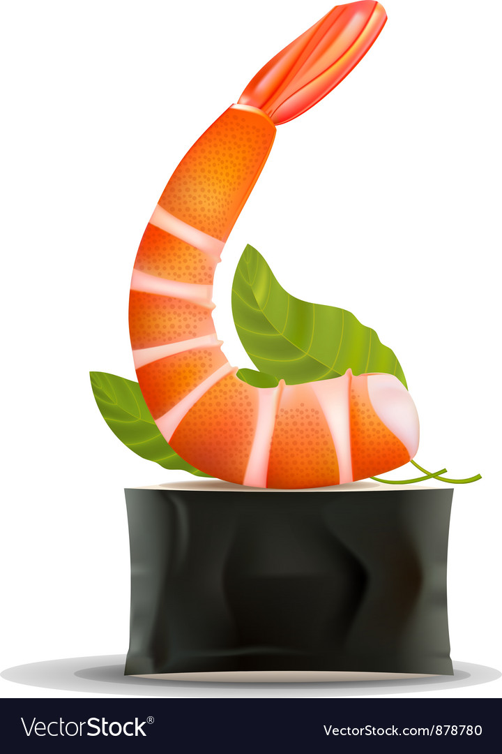 Sushi shrimp on roll on white vector | Price: 1 Credit (USD $1)
