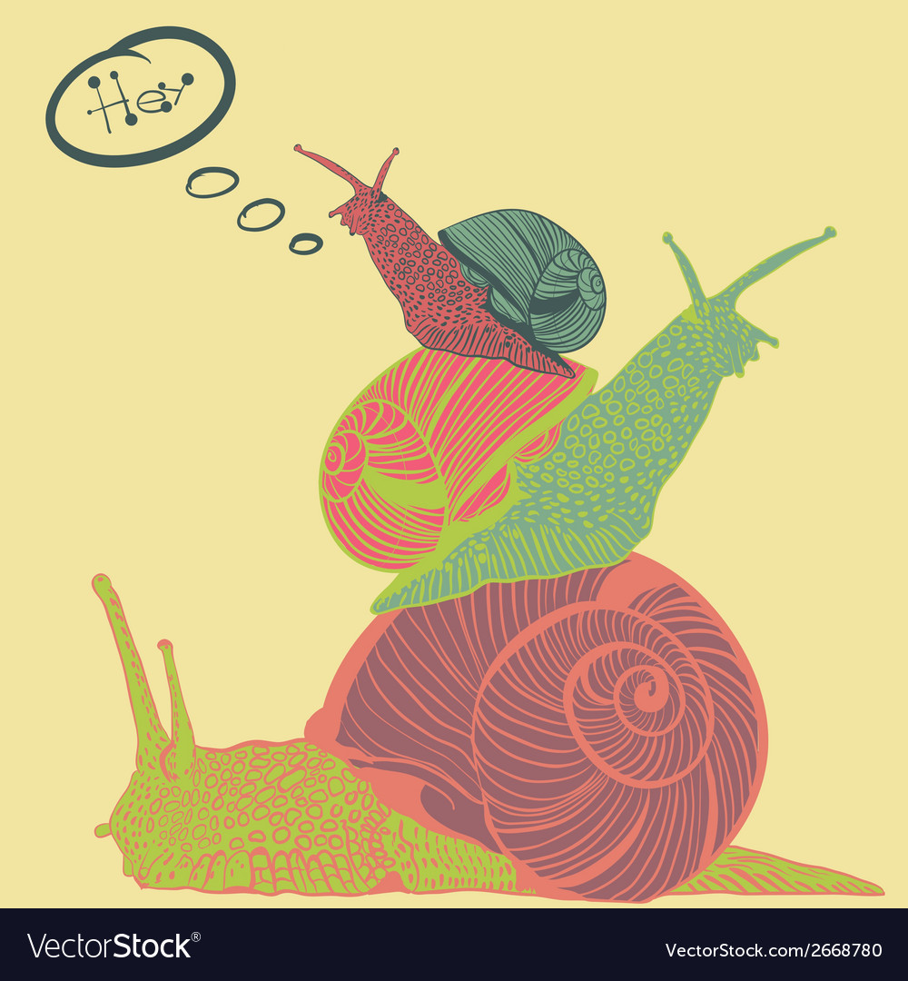 Three colorful snails with speech bubble vector | Price: 1 Credit (USD $1)