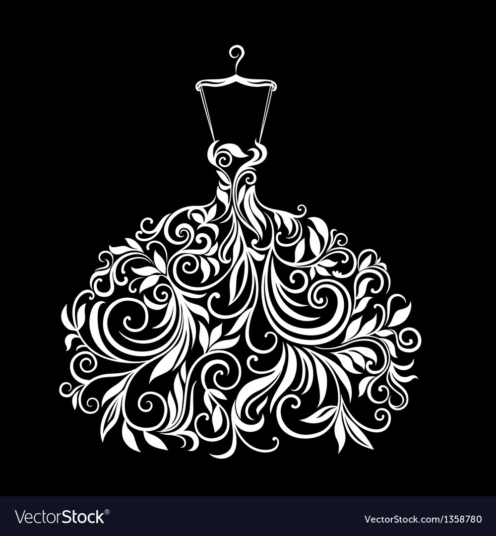 White dress with floral ornament vector | Price: 1 Credit (USD $1)