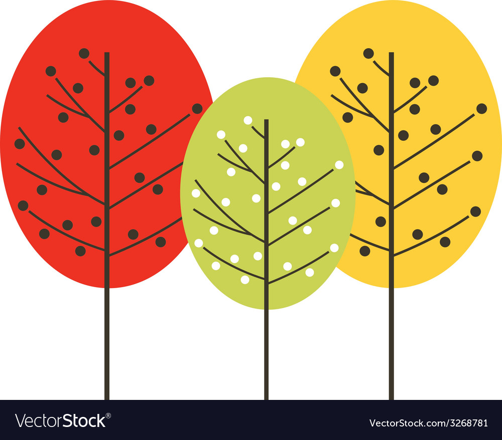 Cute beautiful colorful trees isolated on white vector | Price: 1 Credit (USD $1)