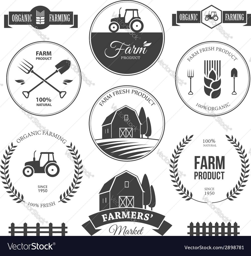 Farm labels 2 vector | Price: 1 Credit (USD $1)