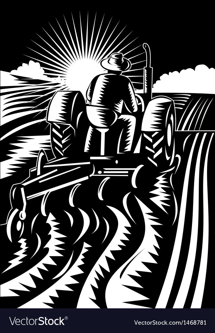 Farmer driving a vintage tractor plowing vector | Price: 1 Credit (USD $1)