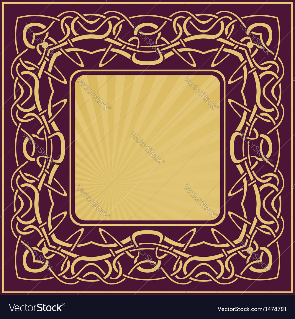 Gold vintage frame with floral ornamental border vector | Price: 1 Credit (USD $1)