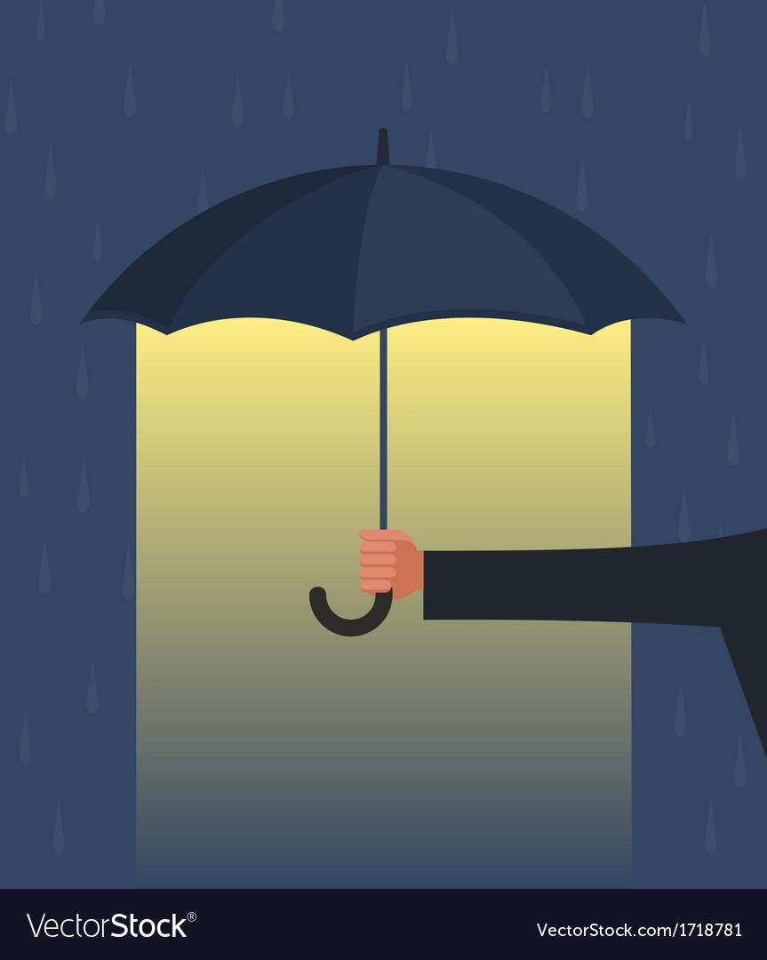 Hand holding an umbrella vector | Price: 1 Credit (USD $1)