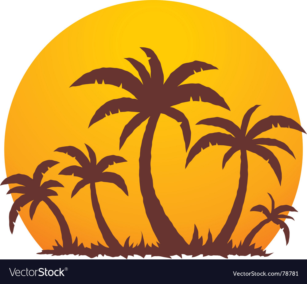 Palm trees and summer sunset vector | Price: 1 Credit (USD $1)