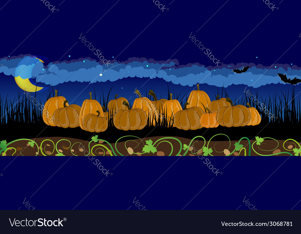 Pumpkins in the grass vector   Price: 1 Credit (USD $1)