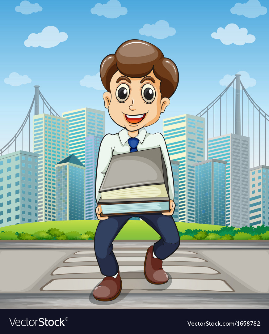 A happy employee crossing the street with a lot of vector | Price: 3 Credit (USD $3)