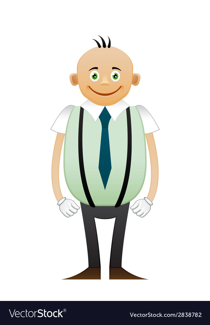 Bald happy office man vector | Price: 1 Credit (USD $1)