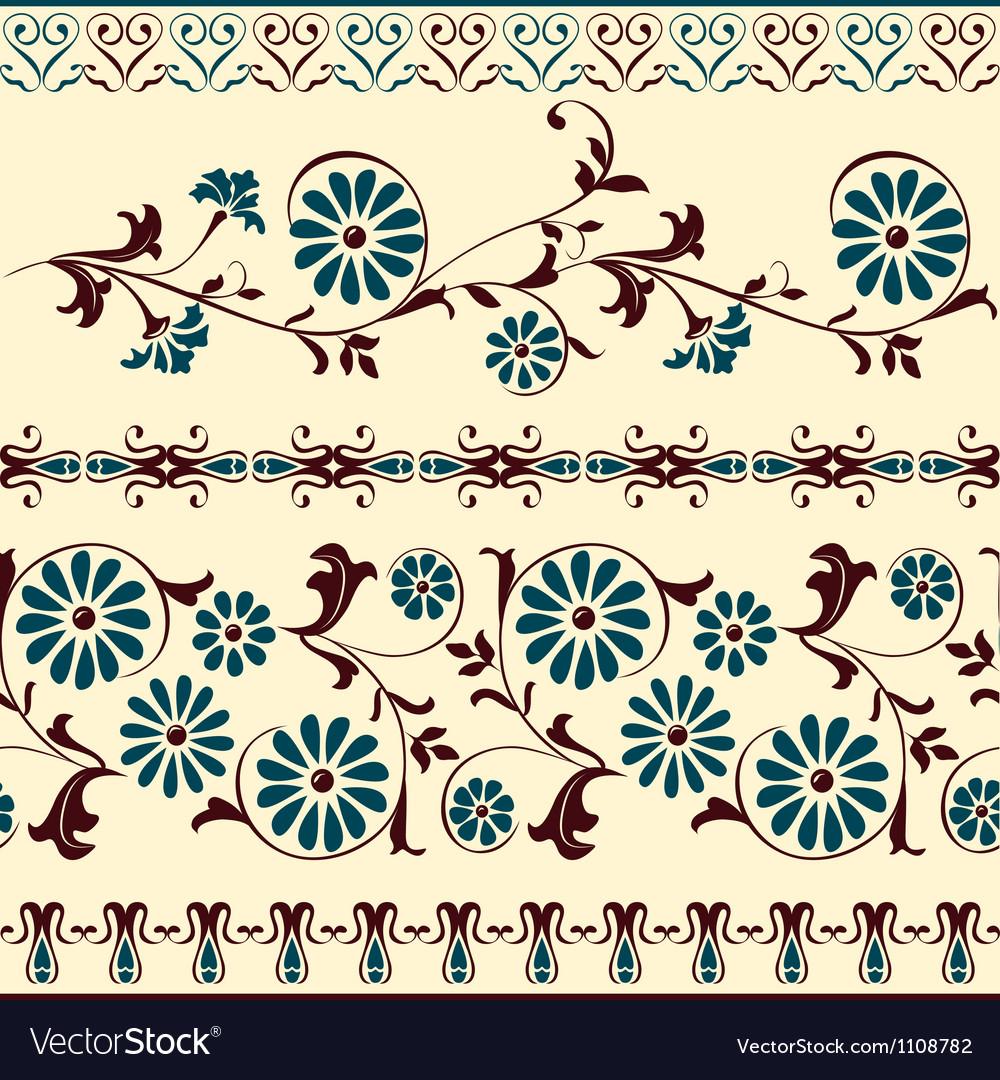 Blue brown motiv decorative floral elements vector | Price: 1 Credit (USD $1)