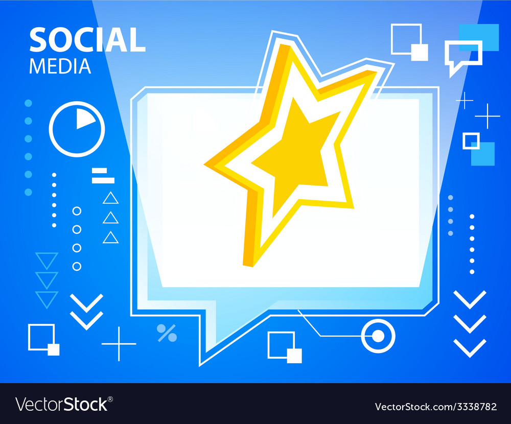 Bright speech bubble and star on blue backgr vector | Price: 3 Credit (USD $3)