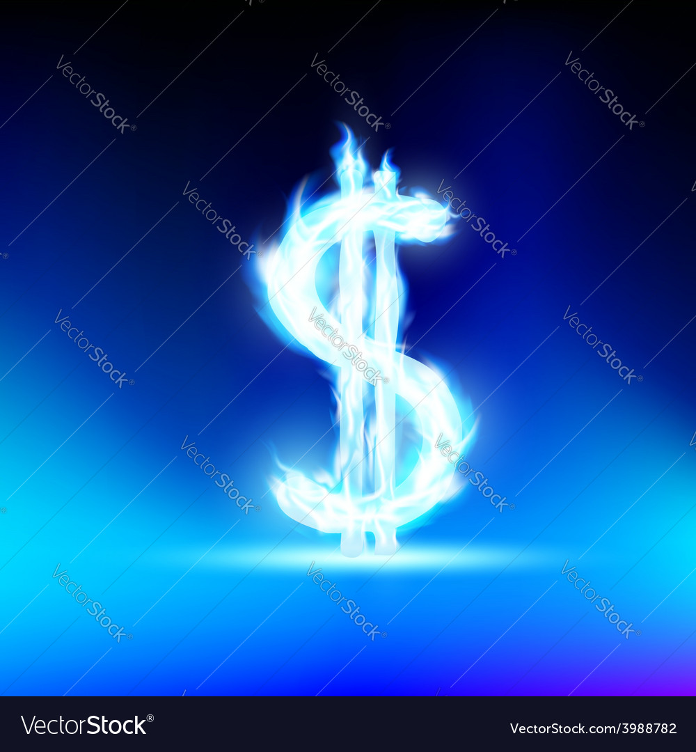 Dollar sign is lit with a blue flame vector | Price: 1 Credit (USD $1)